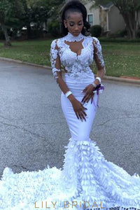 Applique Illusion High Neck Long Sleeves Long Solid Mermaid Prom Dress with Court Train