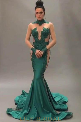 Elegant Applique Illusion High Neck Long Sleeves Long Stretch Mermaid Prom Dress
