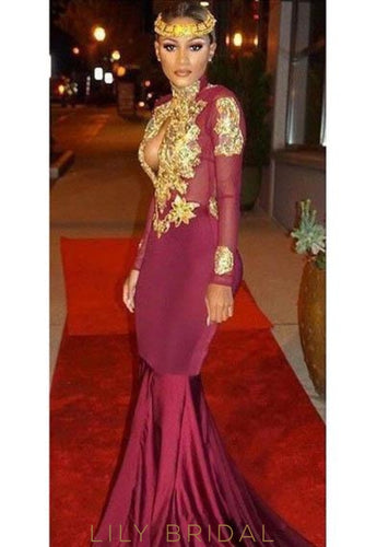 Applique Illusion High Neck Long Sleeves Open Back Long Stretch Mermaid Prom Dress