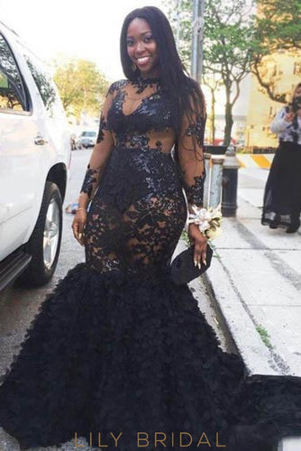 Applique Illusion High Neck Long Sleeves Plus Size Long Mermaid Black Prom Dress