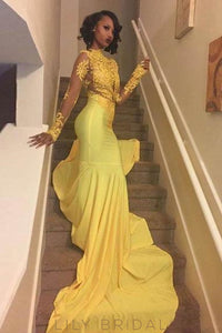Applique Illusion High Neck Long Sleeves Long Stretch Mermaid Prom Dress