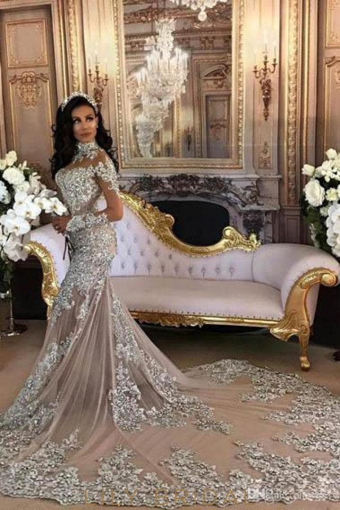 Applique Illusion High Neck Long Sleeves Long Stretch Mermaid Wedding Gown