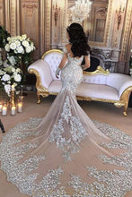 Applique Illusion High Neck Long Sleeves Stretch Mermaid Wedding Gown