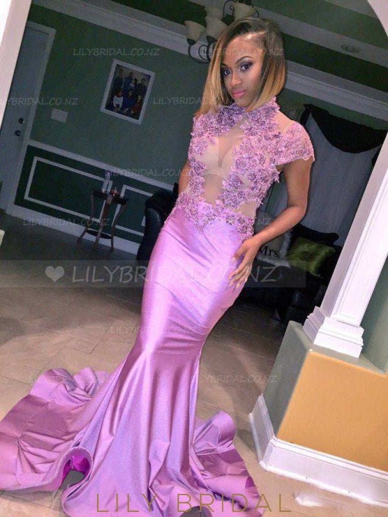 Applique Illusion High Neck Short Sleeves Long Stretch Mermaid Evening Dress