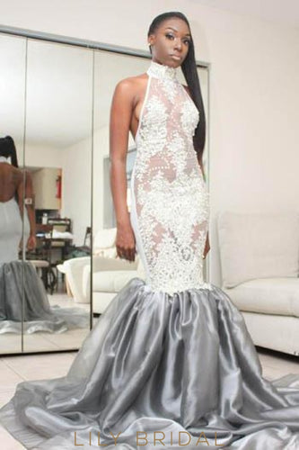 Elegant Applique Illusion High Neck Sleeveless Backless Long Mermaid Prom Dress
