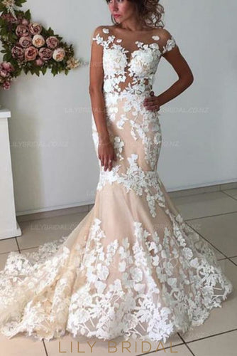 Applique Illusion Sheer Neck Short Sleeves Backless Long Tulle Mermaid Wedding Gown