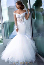 Applique Illusion Off Shoulder Cap Sleeves Mermaid Wedding Gown With Chapel Train