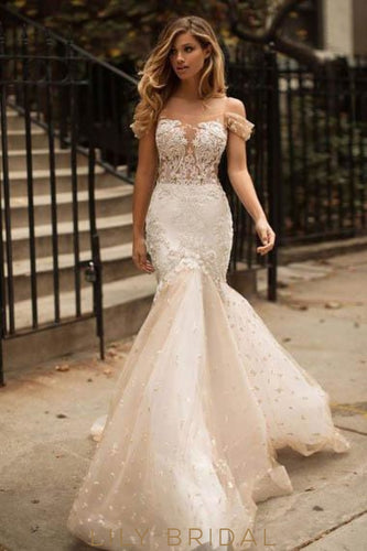 Applique Illusion Off Shoulder Long Mermaid Tulle Wedding Gown with Sweep Train