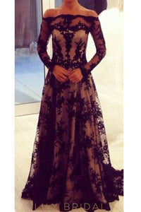 Applique Illusion Off Shoulder Long Sleeves Evening Dress With Sweep Train