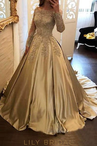 Elegant Applique Illusion Off Shoulder Long Sleeves Long Ball Gown Evening Dress