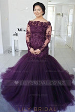 Applique Illusion Off Shoulder Long Sleeves Floor-Length Stretch Mermaid Evening Dress