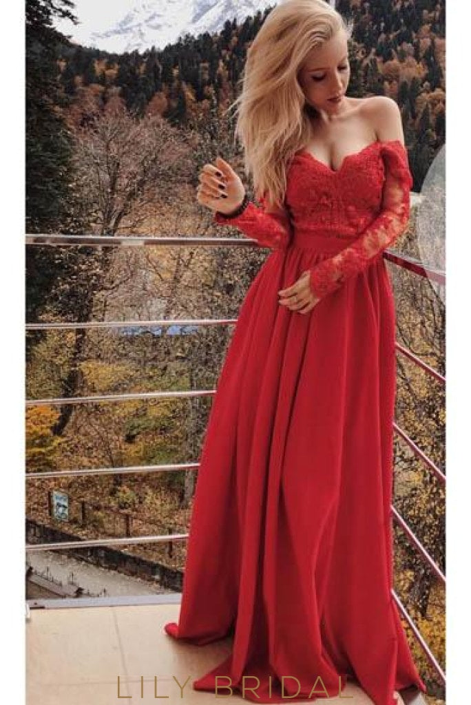 Applique Illusion Off Shoulder Long Sleeves Long Solid Sheath Evening Dress