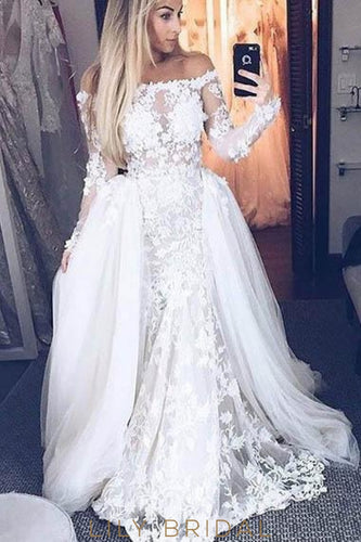 Applique Illusion Off Shoulder Long Sleeves Long Solid Tulle Ball Wedding Gown