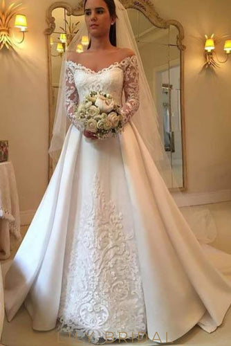 ed49ff109ec62 Applique Illusion Off Shoulder Long Sleeves Long Solid Wedding Gown with  Court Train