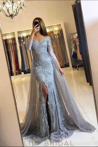Applique Illusion Off Shoulder Long Sleeves Long Slit Tulle Evening Dress with Sweep Train