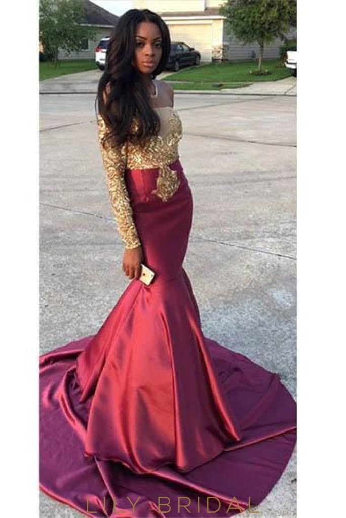 Applique Illusion Off Shoulder Long Sleeves Stretch Mermaid Prom