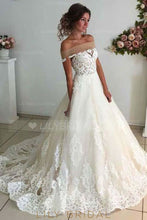 Applique Illusion Off Shoulder Long Solid Tulle Wedding Gown with Sweep Train