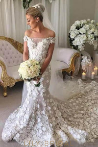 Applique Illusion Off Shoulder Short Sleeves Long Mermaid Wedding Gown with Chapel Train