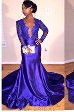 Applique Illusion Scalloped Edge Neck Long Sleeves Open Back Long Mermaid Prom Dress