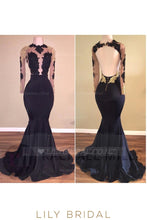 Applique Illusion Scalloped Edge Neck Long Sleeveless Open Back Mermaid Evening Dress