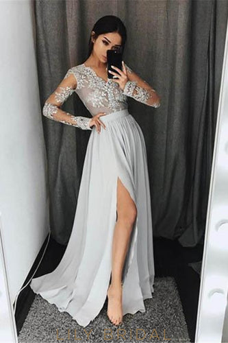 Applique Illusion Scalloped Edge Neck Long Sleeves Long Pleated Slit Evening Dress