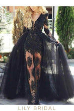 Applique Illusion Scoop Neck Long Sleeves Floor-Length Sheath Tulle Black Evening Dress