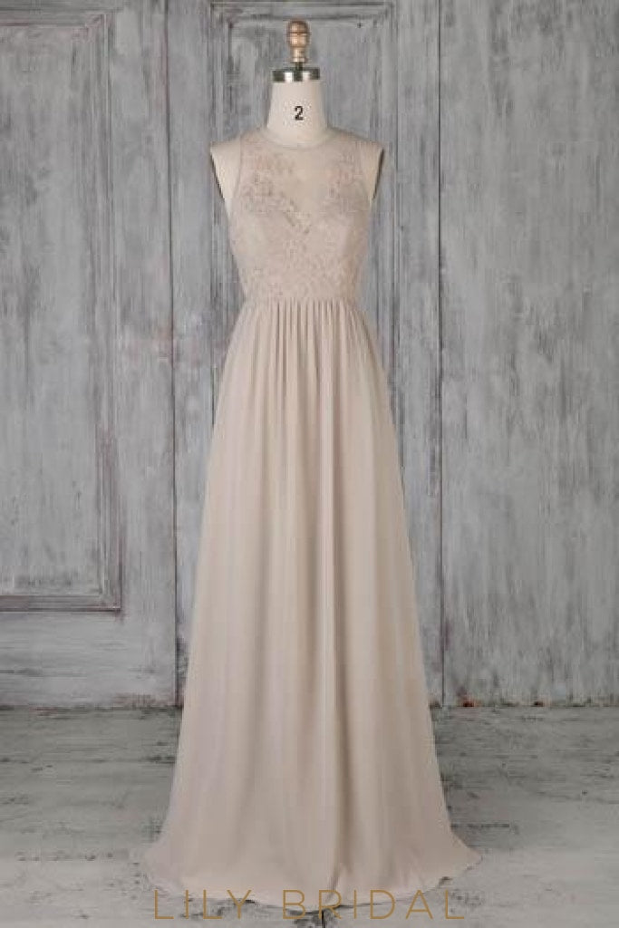 Applique Illusion Scoop Neck Sleeveless Open Back Long Sheath Pleated Bridesmaid Dress