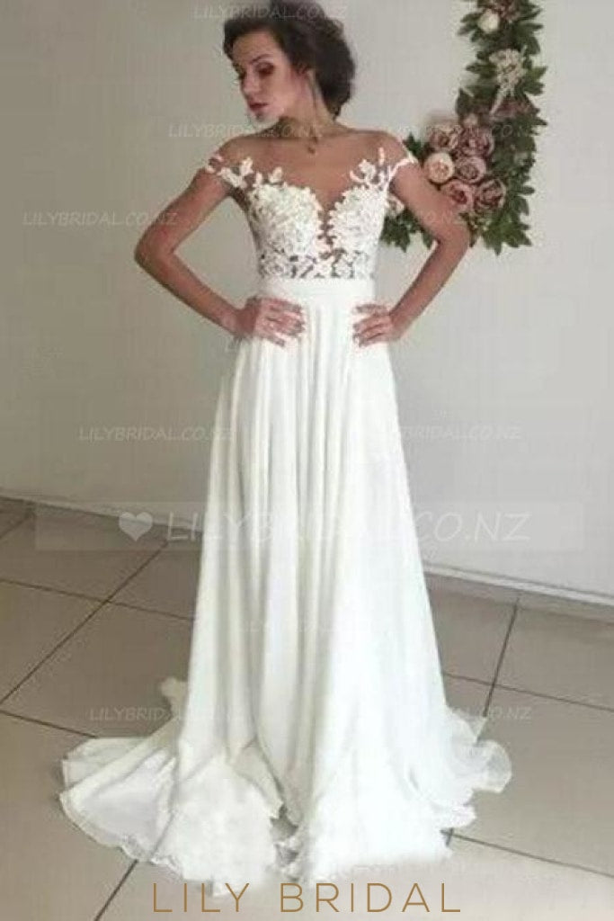 Boho Applique Illusion Sheer Neck Cap Sleeves Long Solid Sheath Wedding Gown