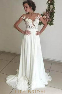 Elegant Applique Illusion Sheer Neck Cap Sleeves Long Solid Sheath Wedding Gown