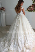 Applique Illusion Sheer Neck Cap Sleeves Backless Ball Wedding Gown with Court Train