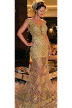 Applique Illusion Sheer Neck Cap Sleeves Floor-Length Tulle Mermaid Evening Dress