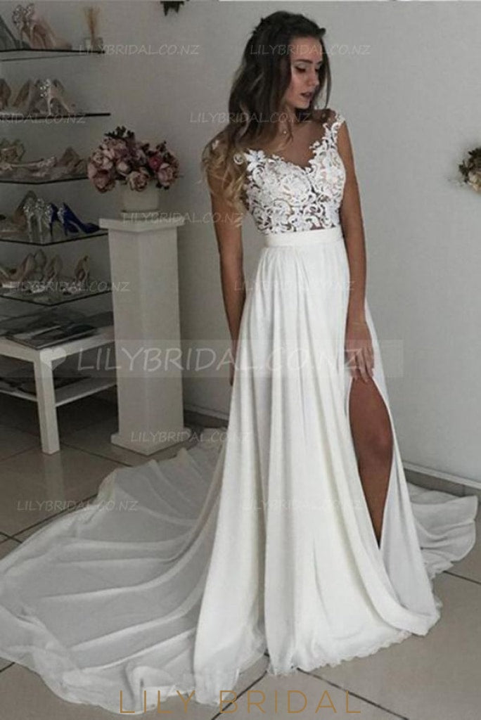 Applique Illusion Sheer Neck Cap Sleeves Long Solid Pleated Slit Sheath Wedding Gown