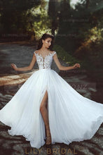 Applique Illusion Sheer Neck Cap Sleeves Long Solid Sheath Silt Chiffon Wedding Gown