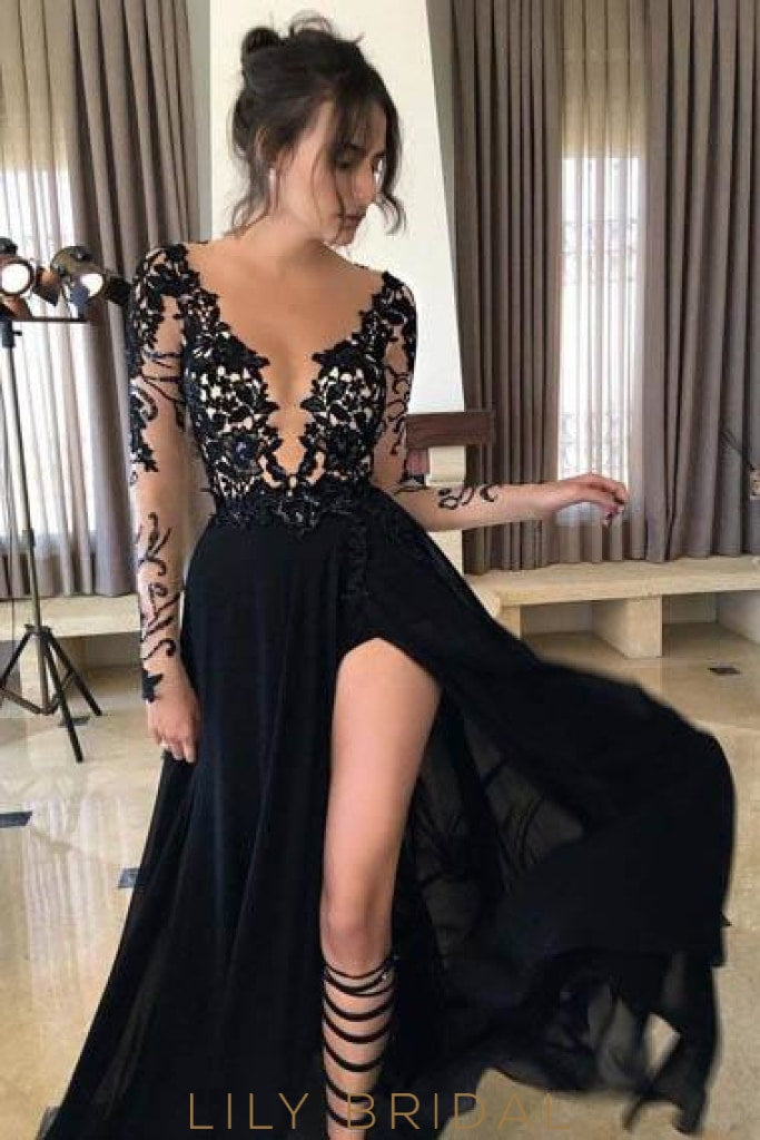 Applique Illusion Sheer Neck Long Sleeves Long Solid Slit Evening Dress