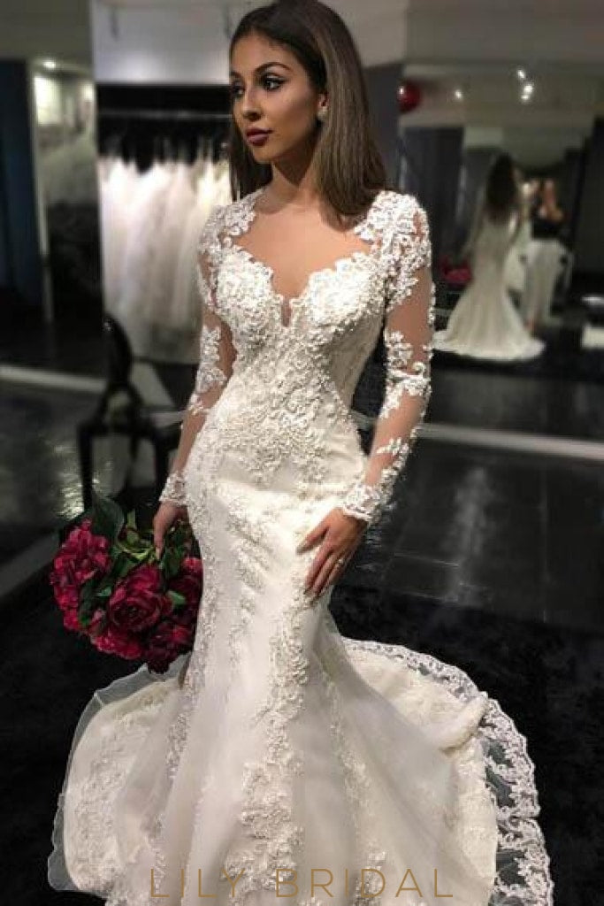 Applique Illusion Sheer Neck Long Sleeves Long Solid Mermaid Tulle Wedding Gown