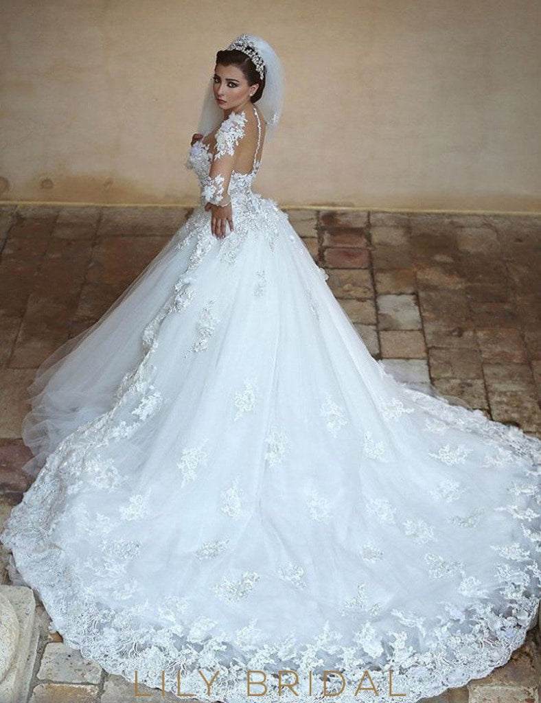 Elegant Applique Illusion Sheer Neck Long Sleeves Long Solid Tulle Ball Wedding Gown