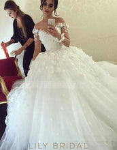 Applique Illusion Sheer Neck Long Sleeves Solid Tulle Ball Wedding Gown