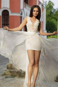 Applique Illusion Sheer Neck Sleeveless Long Solid Sheath Chiffon Wedding Gown