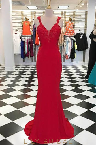 Applique Illusion Straps Sleeveless Open Back Long Solid Sheath Evening Dress