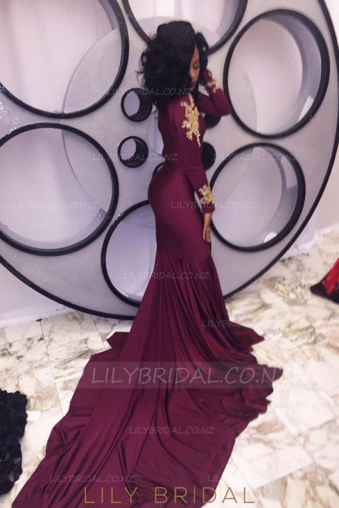 Chic Applique Key-Hole High Neck Long Sleeves Long Stretch Mermaid Evening Dress