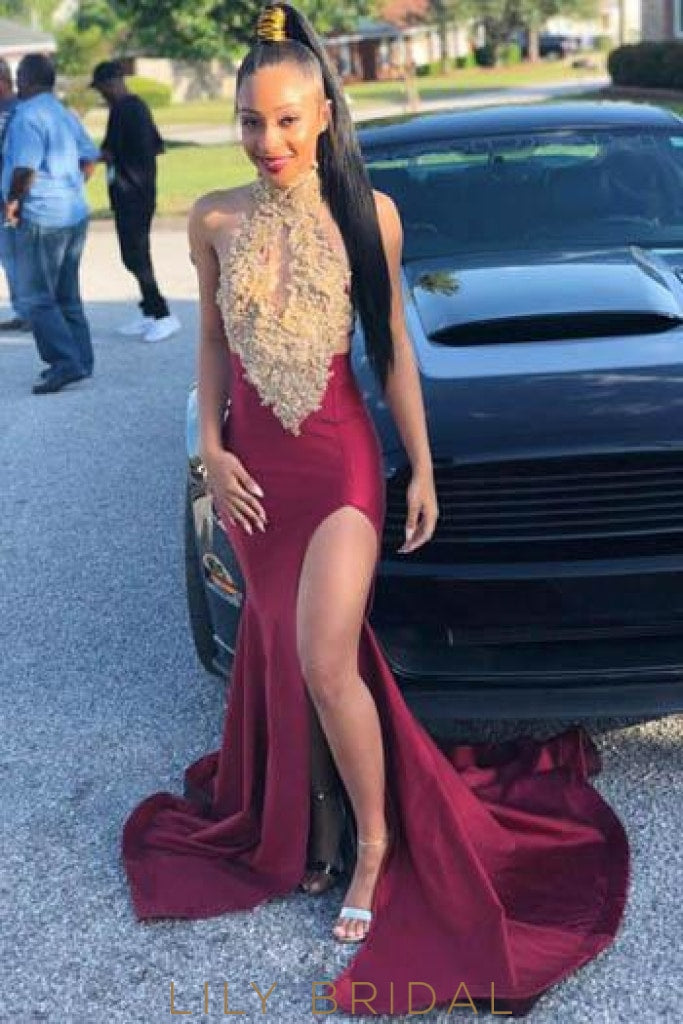 Applique Key-Hole High Neck Sleeveless Long Slit Mermaid Prom Dress with Sweep Train