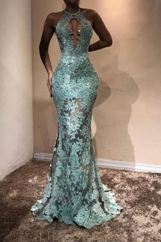 Elegant Applique Key-Hole Illusion Jewel Neck Sleeveless long Mermaid Prom Dress