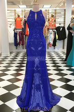 Applique Key-Hole Jewel Neck Sleeveless Open Back Long Solid Sheath Evening Dress