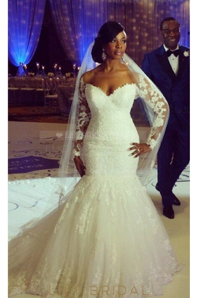 Applique Lace Illusion Off Shoulder Long Sleeves Tulle Mermaid Wedding Gown
