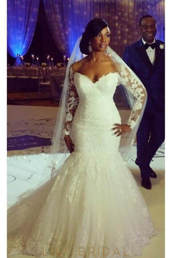 Applique Lace Illusion Off Shoulder Long Sleeves Long Tulle Mermaid Wedding Gown