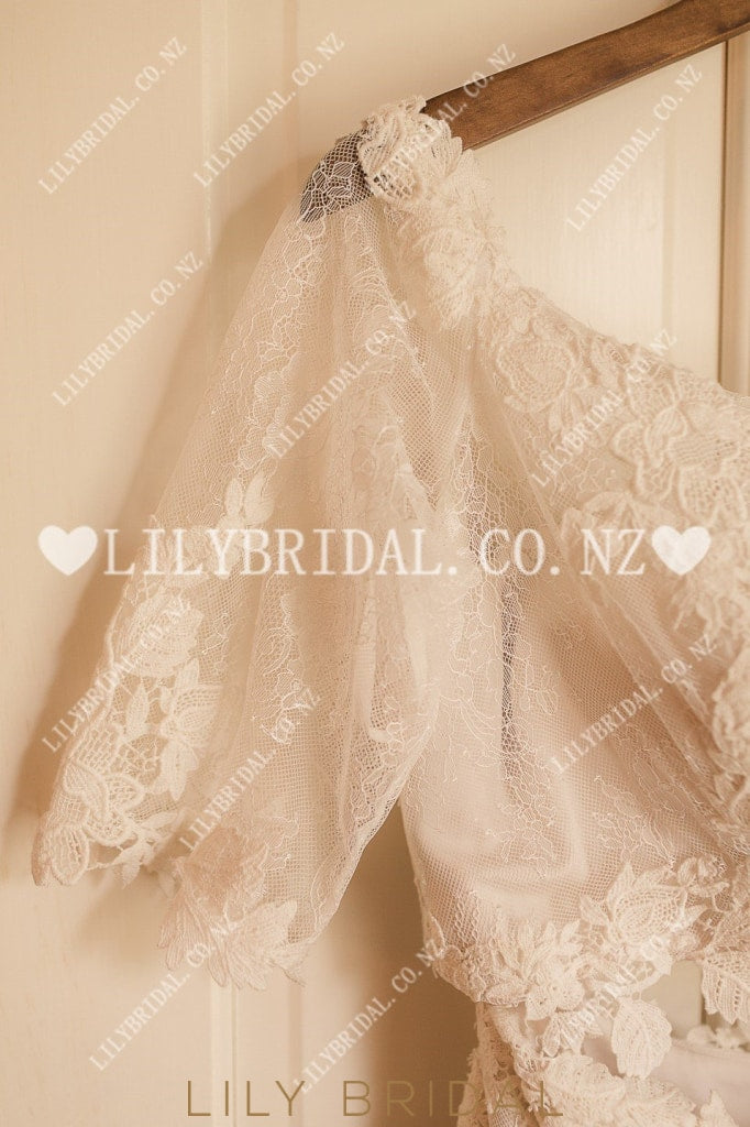 Applique Lace Illusion Off Shoulder Half Sleeves Two Piece Long Wedding Dresses
