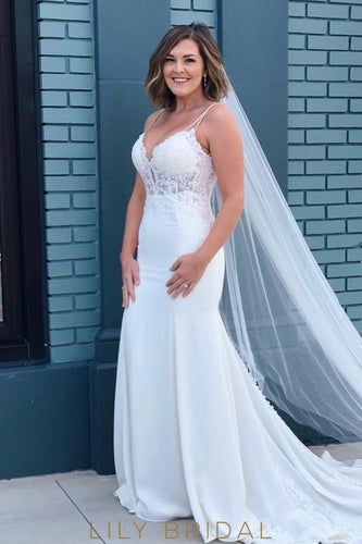 Illusion Applique Lace Plunging Neck Sleeveless Long Fit-And-Flare Wedding Dress