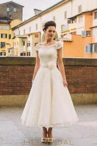 Applique Lace Scalloped Edge Neck Short Sleeves Tea-Length A-Line Wedding Dress