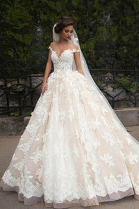 Applique Lace Sheer Neck Short Sleeves Floor-Length Organza Ball Wedding Gown