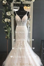 Luxury Applique Lace Spaghetti Straps Sleeveless Backless Long Mermaid Wedding Gown